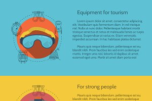 Hiking equipment vector flat style
