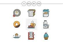 Breakfast menu vector icons. Set 1