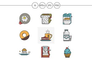 Breakfast menu vector icons. Set 1