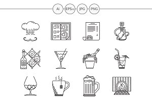 Restaurant black line vector icons