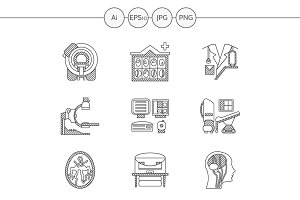 MRI diagnosis line icons. Set 2