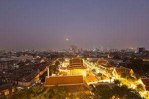 Temple and Bangkok city.