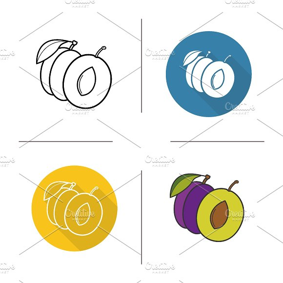 Plum icons. Vector - Icons