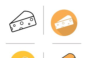 Cheese icons. Vector