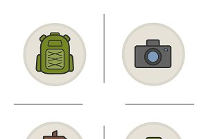 Camping color icons set. Vector