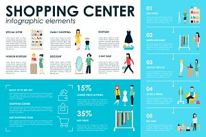 12 Shopping Flat Infographics