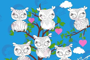 Owls Digital Stamps AMB-1245