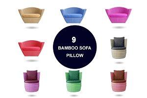 9 Bamboo Sofa with Pillow