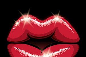 Glowing pop art style female lips