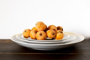 Loquats on plates