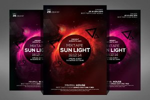 Electro Space Sound Flyer Template