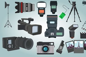 Photographer Equipment Vector Set