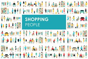 Shopping - flat people set