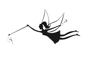 Vector Fairy Flying Black Silhouette
