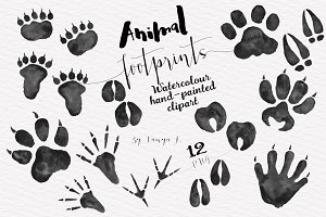 Foot Prints Woodland Animals clipart