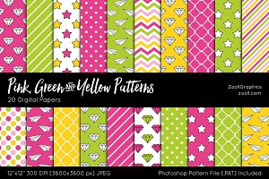 Pink, Green & Yellow Digital Papers