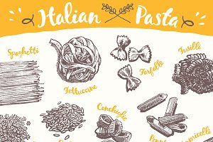 Set of hand drawn Italian pasta