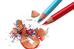 Color pencils and sharpener shaving