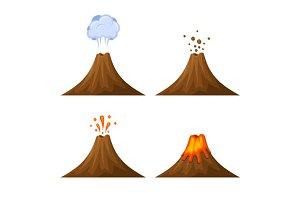 Volcano Icon Set