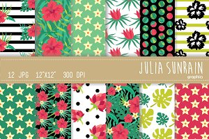 Tropical Flower Digital Paper Set