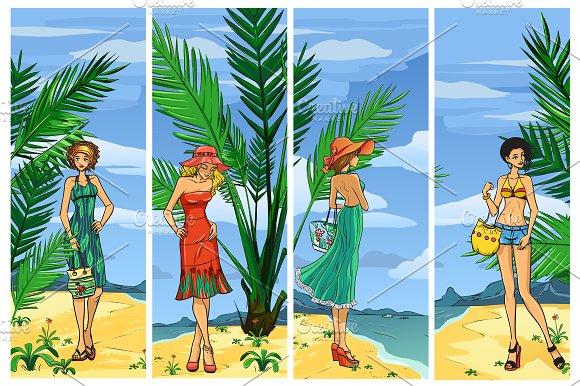Elegant women on the beach in Illustrations