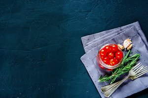 Tomatoes with fresh ingredients