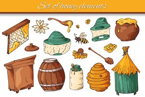 Set of honey elements