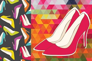 Women high heel shoes patterns.