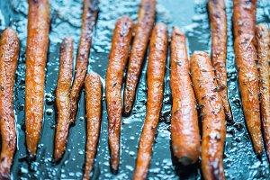 Glazed carrots on the baking tray