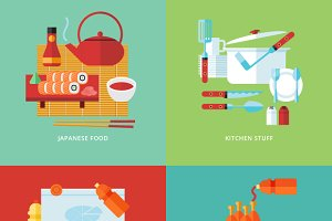Flat food and kitchen banner set