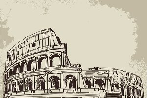Coliseum hand drawn sketch
