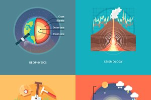Flat Science Banner Concepts