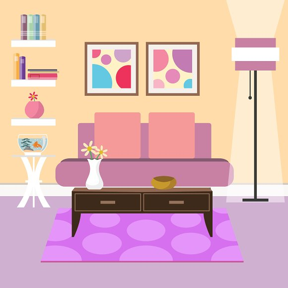 Modern living room ~ Illustrations ~ Creative Market