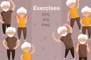 Elderly people. Exercises