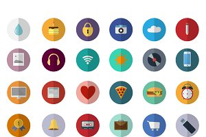 Set of 36 fresh flat design icons.