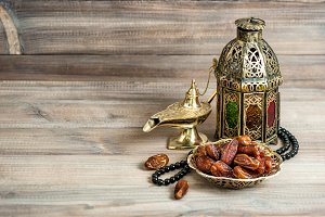 Arabian lantern, dates and rosary
