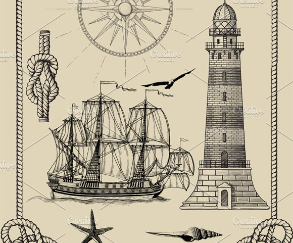 Set of images of sea-related stylize in Illustrations