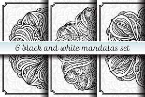 6 black and white mandalas set