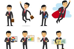 Cartoon businessman poses