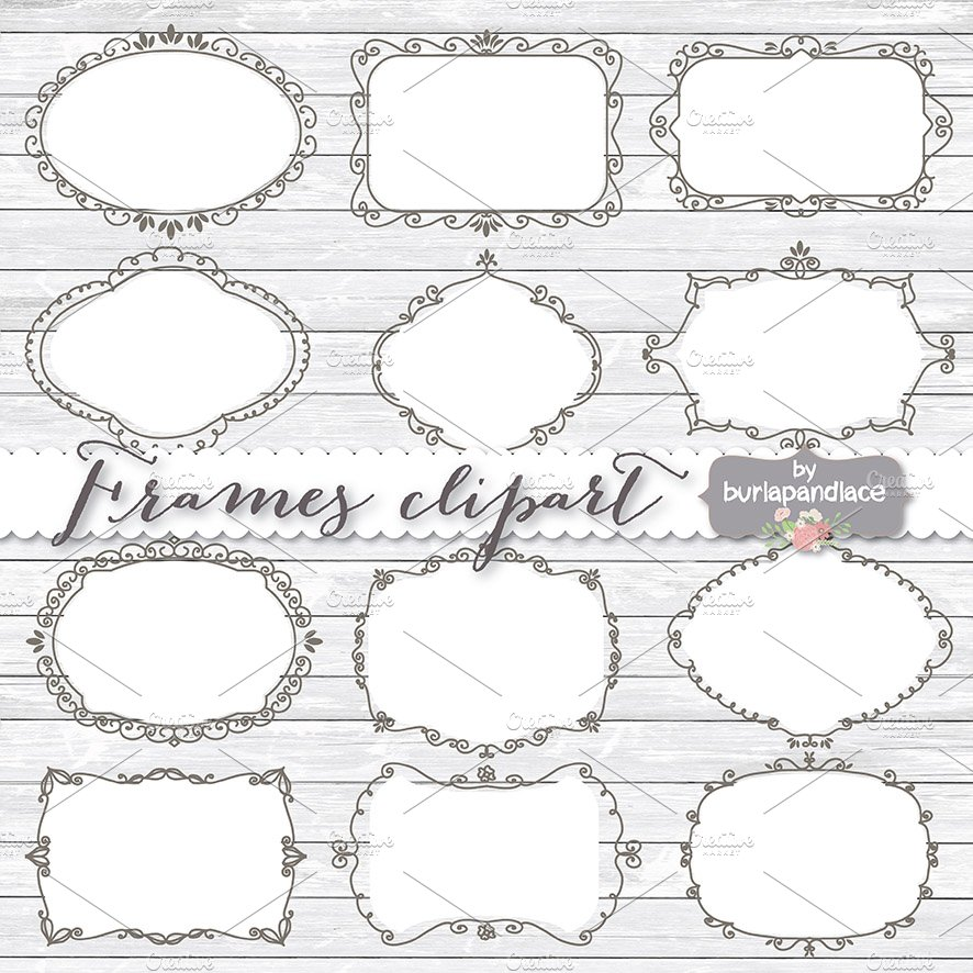 Vector Hand draw frames Clipart ~ Illustrations ~ Creative