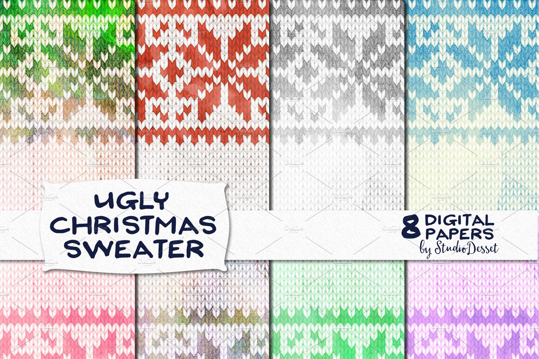 Ugly Christmas Sweater - Papers Pack ~ Graphic Patterns ~ Creative ...
