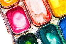 Watercolor paints in a box