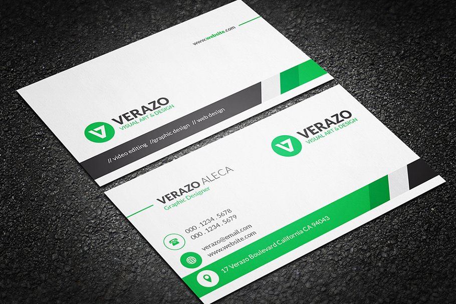 clean professional business card  creative business card