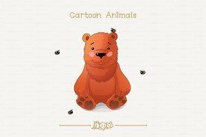 ♥ vector Brown bear and bees