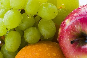 Fruits with water drops