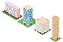 Set of Isometric city buildings.