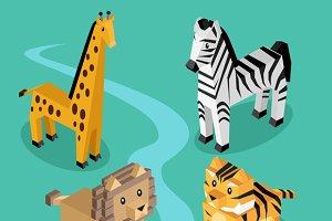 Exotic Animal Set Isometric