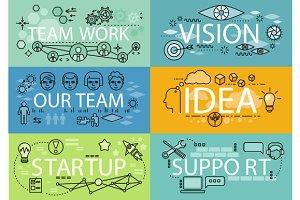Banners Set Idea Startup Teamwork
