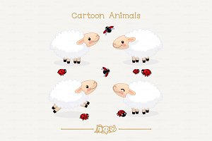 ♥ vector Group of sheep and ladybugs