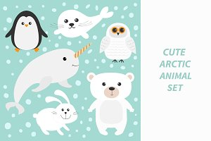 Arctic animal set.